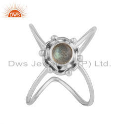 Flashy Labradorite Gemstone Antique 925 Silver Stackable Ring Jewellery