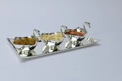 Silver Plated Tray with 3 Duck Bowls- TS1007