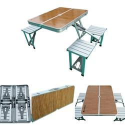 Folding Picnic Table-Wood Finish Top