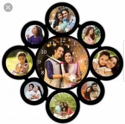 Black Wood Personalized 9 Pic Collage Frame With Round Wall Clock, For Home, Size: 16*16