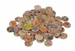 Wooden Printed Buttons, 20 mm, 2 hole for Sewing ,Crafts, dresses, decoration