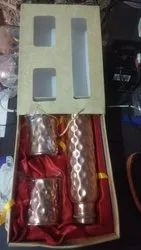 Copper Products Non diamond bottle gift set, For Gifting, Packaging Type: Box