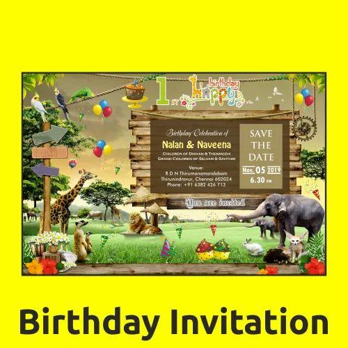 Rectangle Glossy Kids Birthday Invitation Card, Size: 9 X ...