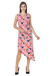 Party Wear Fashians Pink Printed Dress