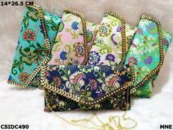 Raw Silk Printed Clutch Bag