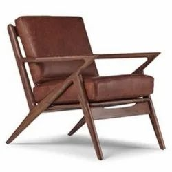 Brown Wooden Mid Century Chair