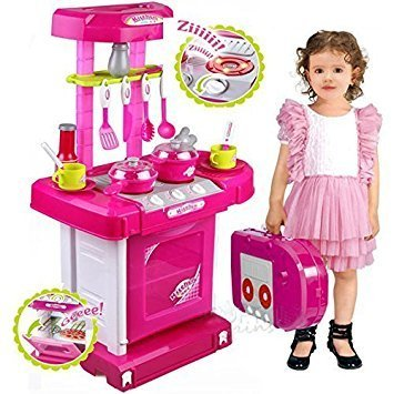 Girls And Baby Girls Plastic Kitchen Set Kids Luxury Battery