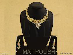 Flower Style AD Necklace Set Jewellery