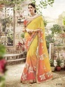 Yellow and Orange Color Combination Saree
