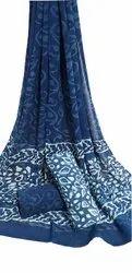 Dabu Printed Cotton Chiffon Dupatta Suit