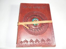 Genuine Leather Embossed Journal with Stone