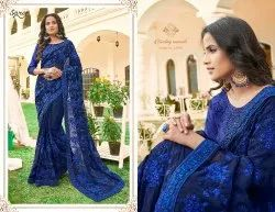 Royal Blue Color Georgette Embroidery Saree