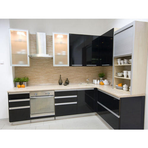 Multicolor L Type Wooden Modular Kitchen, Rs 1500 /square ...