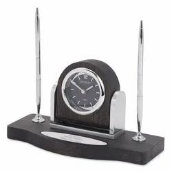 Double Pen Stand Wooden Chrome Charcoal Finish Desktop Clock