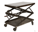 Scissor Black Crank Table With Wheels