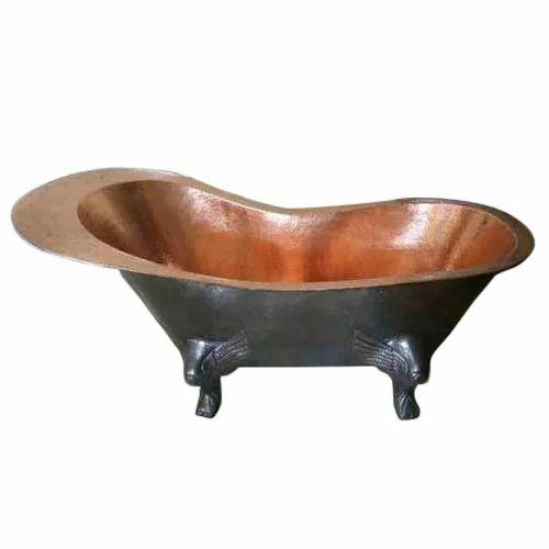 copper bathtub. Firdaus International Brown  Silver Copper Bathtub With Dragon Legs Shape Round