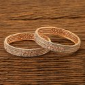 White Rose Gold Plated Cz Classic Bangles 401110