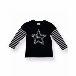 Cotton Casual Wear Kids Round Neck Black Printed T-Shirt