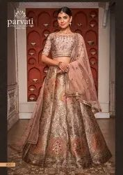 Embroidered Silk Lehenga Choli With Net Dupatta By Parvati Fabric