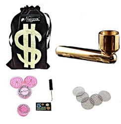 Metal Tobacco Smoking Pipe For Tobacco 2.8 Inch (7cm) Incl. Accessories And Fancy Velvet Pouch