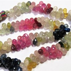Multi Sapphire faceted teardrop beads