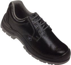 Leather Black Safety Shoes with Dual Density, Antistatic, Non-Metal Composite Midsole, Oil Resistant