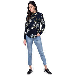 Ladies Dark Blue Casual Shirt