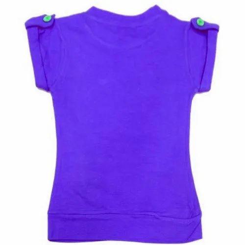 Cotton Round Neck Girls Purple Top