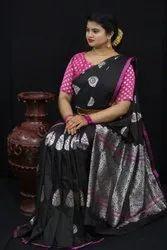 Designer Kesari Silk Saree