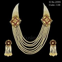 Traditional Pearl Mala Necklace Set