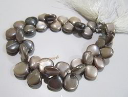 Natural Chocolate Moonstone Plain Smooth Heart Shape Beads