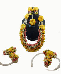 Floret Jewellery Yellow Color Gota Patti Necklace, Earrings, & Maang Tika For Women & Girls