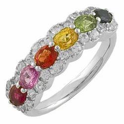 Multicolored Silver Ring