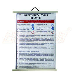 Safety Precautions Chart In Lathe Machine ( English) Poster