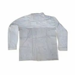Full Sleeves White Industrial Leather Safety Jacket