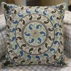 Paisley Design Embroidery Cotton Green Cushion Cover