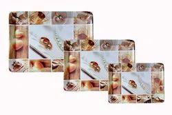 MEHUL CROCKERY Melamine Round Love Theme 3 Piece Serving Tray (Large, Medium & Small)