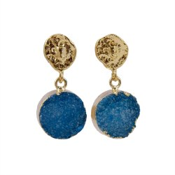 Brass Blue Natural Agate Druzy Gemstone Stud Earring, Size: 13 mm