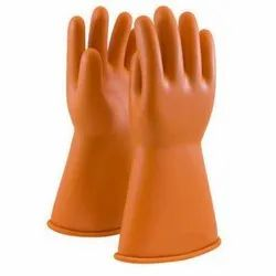 Orange Rubber Hand Gloves, for Electrical protection