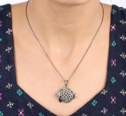 Pave Diamond Fish Pendant Necklace