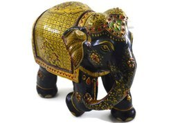 Handmade Kadam Wood Elephant With Pure Gold Work