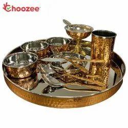 Choozee - Copper Thali Set (12 Pcs) of Thali, Bowl, Spoon,Glass, Ice-Cream