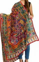 Peacock Embroidered Phulkari Dupatta - Fancy Dupatta - Phoolkari  Stole