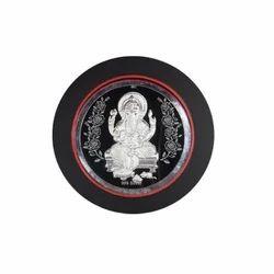 Silver Ganesha Round Frame