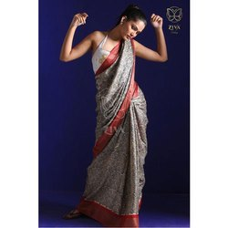 Exquisite Hand Woven and Hand Block Printed Designer Pure Handwoven Tussar Silk Saree, 5.5 metres