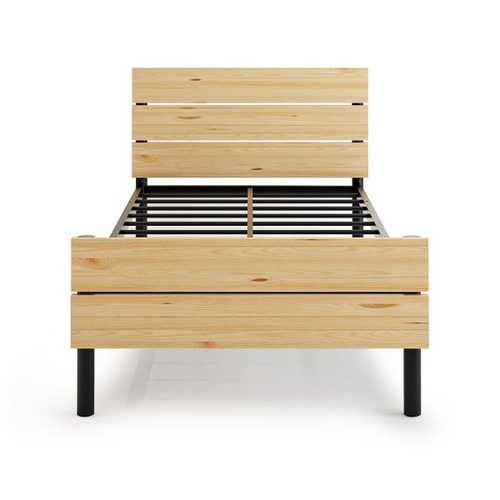 "78""(l) X 36""(w) X 14""(h) Benne Twin Size Metal Bed with Solid Wood (Black / Natural Pine)"
