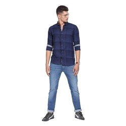 Casual Wear Cotton Full Sleeve Check Shirts