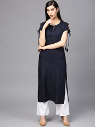 Rayon Round Neck Solid Straight Kurta