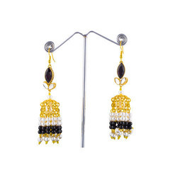 Black Stone Ladies Earring, Size: 3 Inch