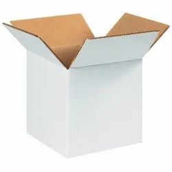 White Packaging Corrugated 4 x 4 x 4 Inch White 3 Ply Box